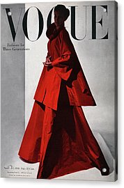 A Vogue Cover Of A Woman Wearing A Red Acrylic Print by Horst P. Horst