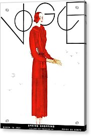 A Vogue Cover Of A Woman Wearing A Red Suit Acrylic Print