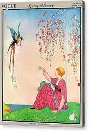 A Vogue Cover Of A Woman With A Bird Acrylic Print by George Wolfe Plank