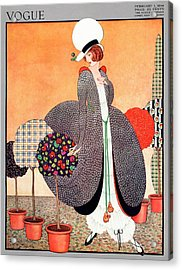 A Vogue Cover Of A Woman With Fabric Swatch Pot Acrylic Print by George Wolfe Plank