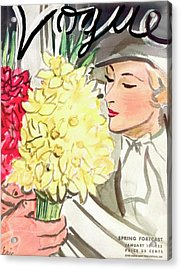 A Vogue Cover Of A Woman With Flowers Acrylic Print