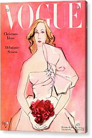A Vogue Cover Of A Woman With Roses Acrylic Print