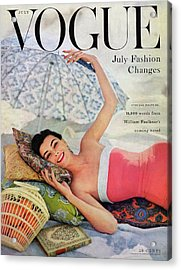 A Vogue Cover Of Anne Gunning Under An Umbrella Acrylic Print by Karen Radkai