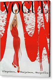 A Vogue Cover Of Anne St. Marie And Red Paint Acrylic Print by William Bell