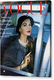 A Vogue Cover Of Joan Friedman In A Car Acrylic Print by Clifford Coffin