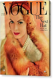 A Vogue Cover Of Mary Mclaughlin Wearing A Fox Acrylic Print by Horst P. Horst