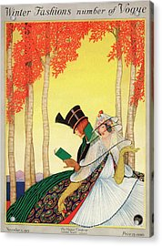A Vogue Cover Of Women Sitting In A Forest Acrylic Print by George Wolfe Plank