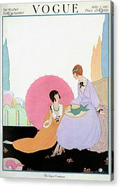 A Vogue Cover Of Women With A Parasol Acrylic Print by Helen Dryden