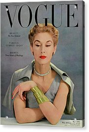 A Vogue Magazine Cover Of Lisa Fonssagrives Acrylic Print by John Rawlings
