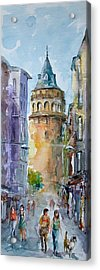 Acrylic Print featuring the painting A Walk Around Galata Tower - Istanbul by Faruk Koksal