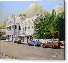 Acrylic Print featuring the painting A Walk Down Caroline Street by Bob  George