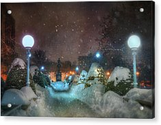 A Walk In The Snow - Boston Public Garden Acrylic Print by Joann Vitali