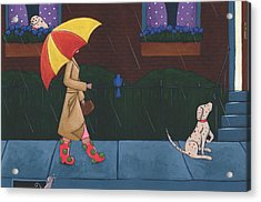 A Walk On A Rainy Day Acrylic Print by Christy Beckwith
