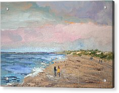 Acrylic Print featuring the painting A Walk On The Beach by Michael Helfen