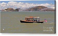 A Water Taxi Cruises Past Alcatraz Acrylic Print by Jim Fitzpatrick