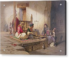 A Weaver In Esna, One Of 24 Acrylic Print by Carl Friedrich Heinrich Werner