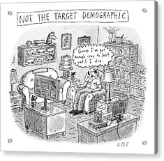 A White, Middle-aged Male Is Deemed: Acrylic Print by Roz Chast