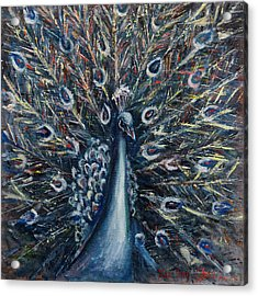 A White Peacock Acrylic Print by Xueling Zou