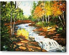 A Winding Creek In Autumn Acrylic Print