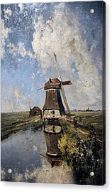A Windmill On A Polder Waterway, Known As In The Month Of July, C. 1889, By Paul Joseph Constantin Acrylic Print