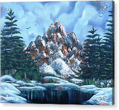 Acrylic Print featuring the painting A Winter Day On Bald Mountain by The GYPSY And DEBBIE