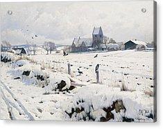 A Winter Landscape Holmstrup Acrylic Print by Peder Monsted