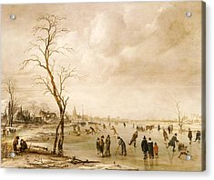 A Winter Landscape With Townsfolk Skating And Playing Kolf On A Frozen River Acrylic Print by Aert van der Neer