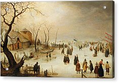 A Winter River Landscape With Figures On The Ice Acrylic Print