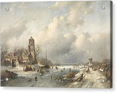 A Winter Scene, Charles Leickert Acrylic Print by Litz Collection