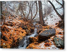 A Winter Scene In Jerome Arizona Acrylic Print
