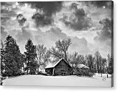A Winter Sky - Oil Bw Acrylic Print by Steve Harrington