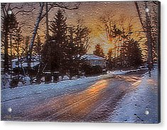 A Winter Sunset Acrylic Print by Mikki Cucuzzo