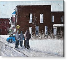 A Winter Walk In Montreal Acrylic Print by Reb Frost