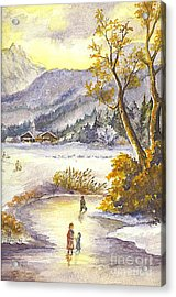 Acrylic Print featuring the painting A Winter Wonderland Part 2 by Carol Wisniewski