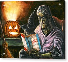A Witch Reading Acrylic Print by Mark Tavares