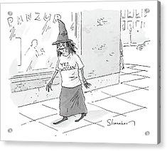 A Witch Walks On The Sidewalk Wearing A Hat Acrylic Print