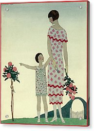 A Woman And A Little Girl Acrylic Print by Andre E.  Marty