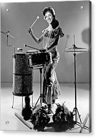 A Woman Calypso Percussionist Acrylic Print by Underwood Archives