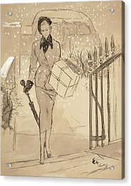 A Woman Carrying A Gift In The Snow Wearing Acrylic Print by Carl Oscar August Erickson