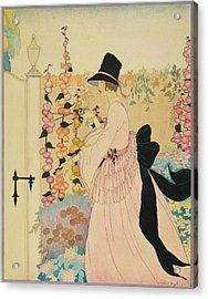 A Woman Cutting Flowers In A Garden Acrylic Print by Helen Dryden