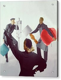 A Woman Directing Two Men With Props Acrylic Print