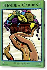 A Woman Holding A Basket Of Fruit Acrylic Print