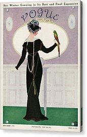 A Woman Holding A Parakeet Acrylic Print by Mrs. Newell Tilton