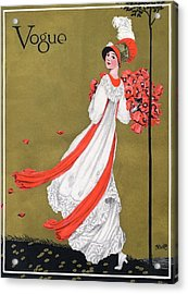 A Woman Holding Poppies Acrylic Print by George Wolfe Plank
