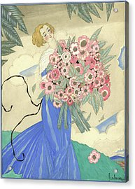 A Woman In A Blue Dress Holding A Bouquet Acrylic Print