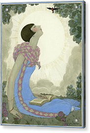A Woman Looking At A Small Bird Acrylic Print by Georges Lepape
