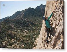 A Woman Man Rock Climbing In Cochise Acrylic Print