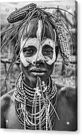 A Woman Of The Karo Tribe (omo Valley-ethiopia). Acrylic Print