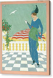 A Woman On A Terrace Acrylic Print by Will Hammell