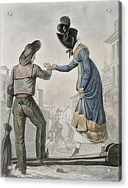 A Woman Paying A Street Sweeper Acrylic Print by Antoine Charles Horace Vernet